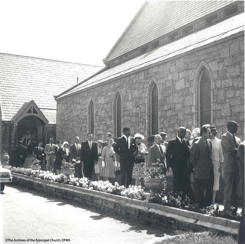 Mourners Lined Up Outside Of Church