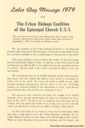 Urban Bishops Coalition, Labor Day Message