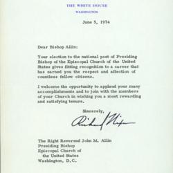Allin Letter From Nixon